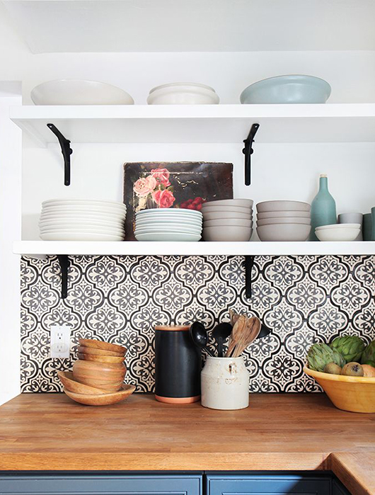 patterned tile backsplashes via emily henderson / sfgirlbybay - Baby's Got Back. / Sfgirlbybay