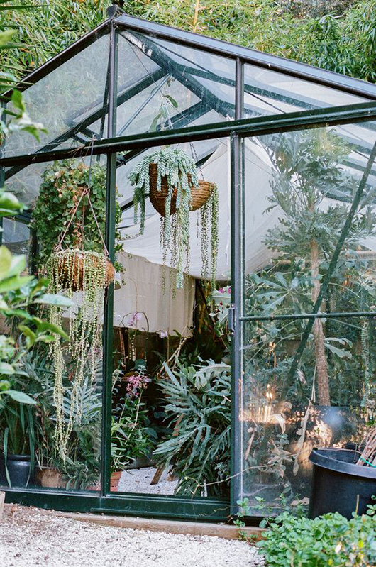 large modern greehouse with hanging plants / sfgirlbybay
