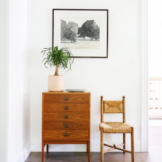 modern cabinet and potted house plant with black and white print and handmade chair / sfgirlbybay