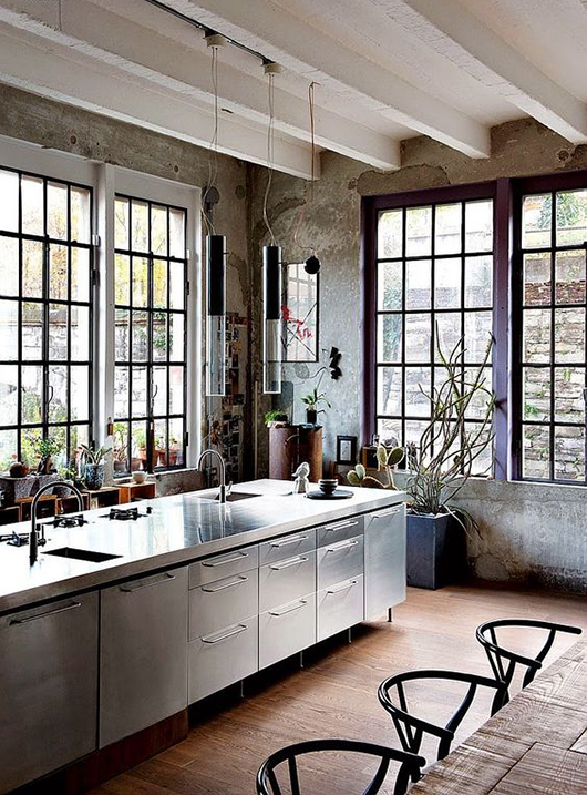 modern kitchen with black window frames sfgirlbybay