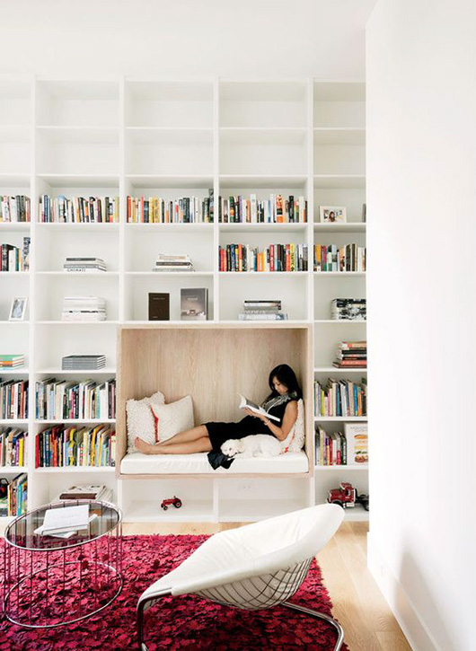 cozy built-in reading nook via Dwell./ sfgirlbybay