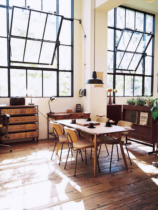 chairs around a rustic modern table in a loft / sfgirlbybay