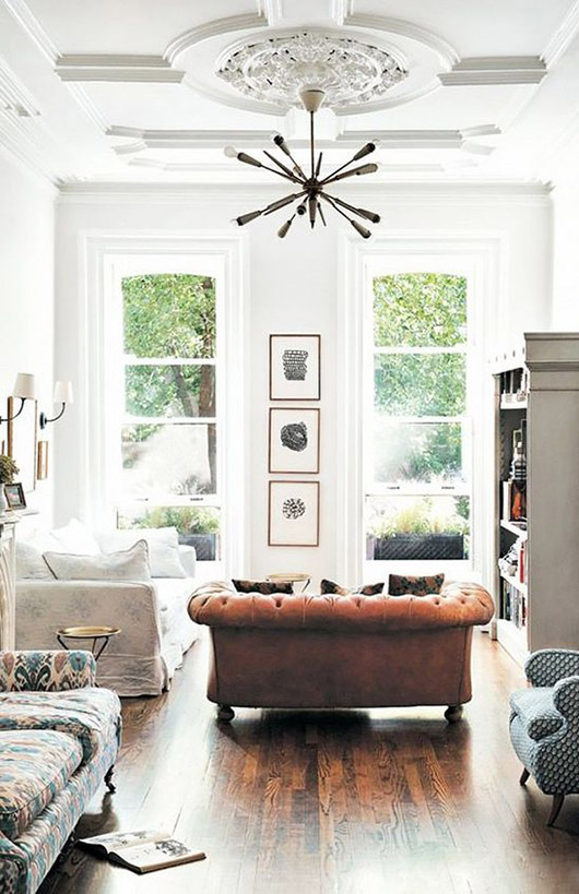tall white ceilings with medallion and modern light fixture via my domaine. / sfgirlbybay