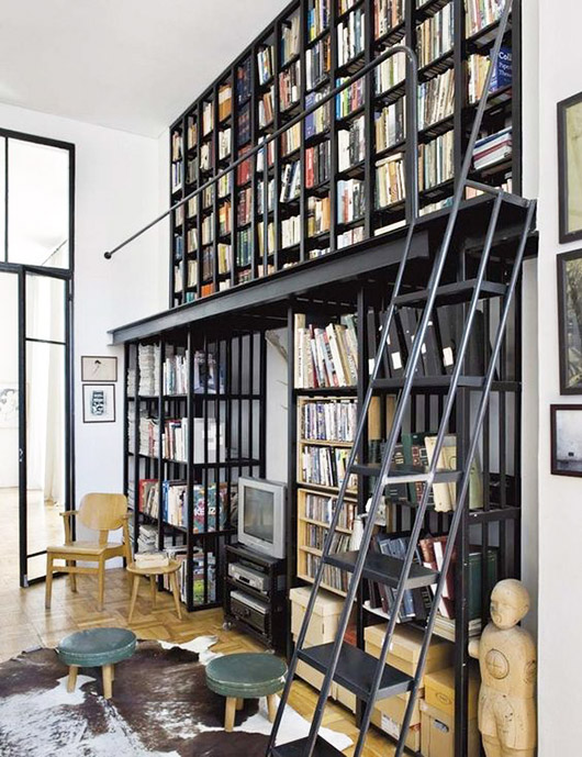 black metal bookcases with black metal library ladder / sfgirlbybay