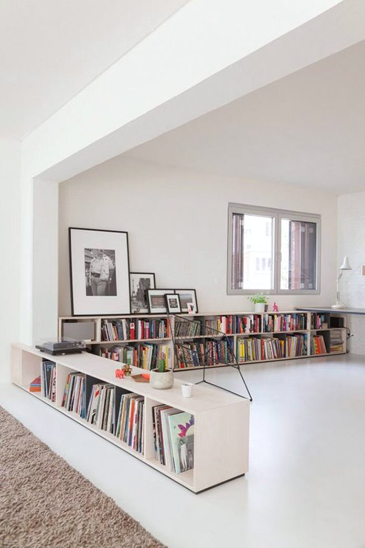low white shelving with book storage / sfgirlbybay