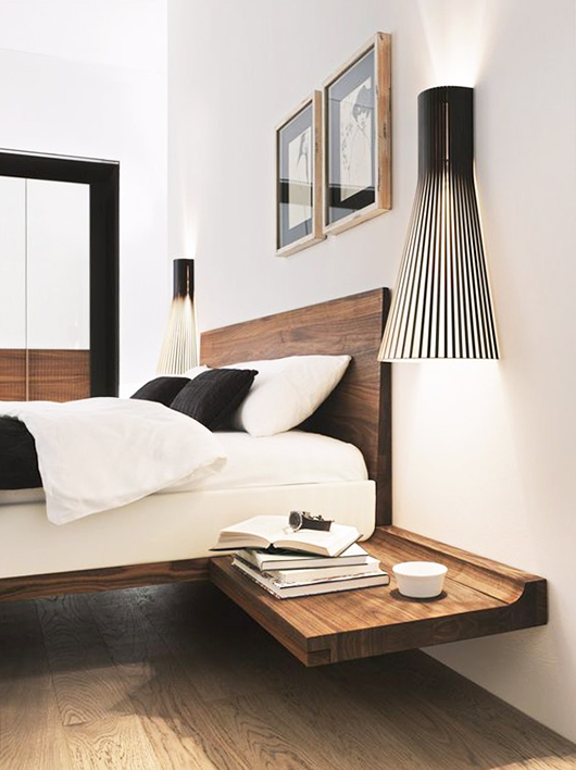 modern floating bedside table and oversized light fixtures / sfgirlbybay