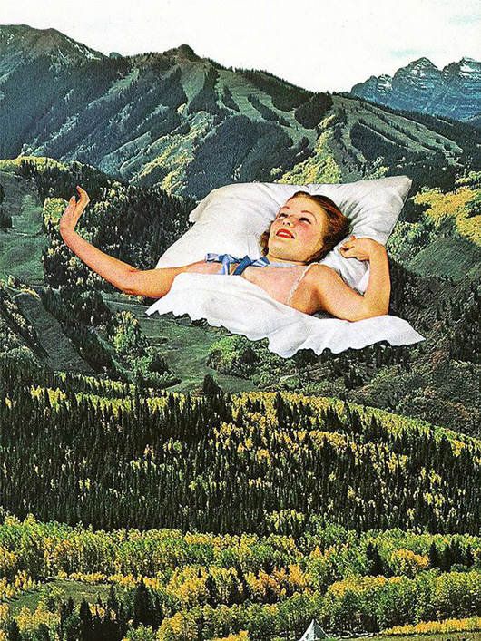 forest collage image with photo of woman in bed overlayed / sfgirlbybay