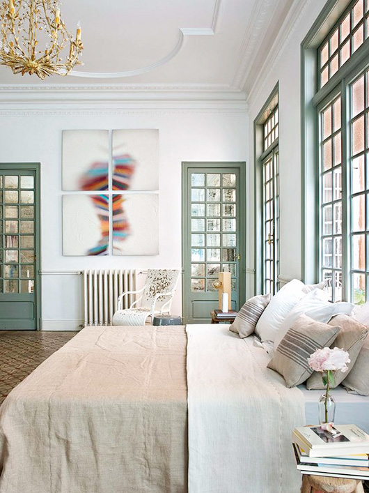 pastel paint and neutral bedding in madrid bedroom / sfgirlbybay
