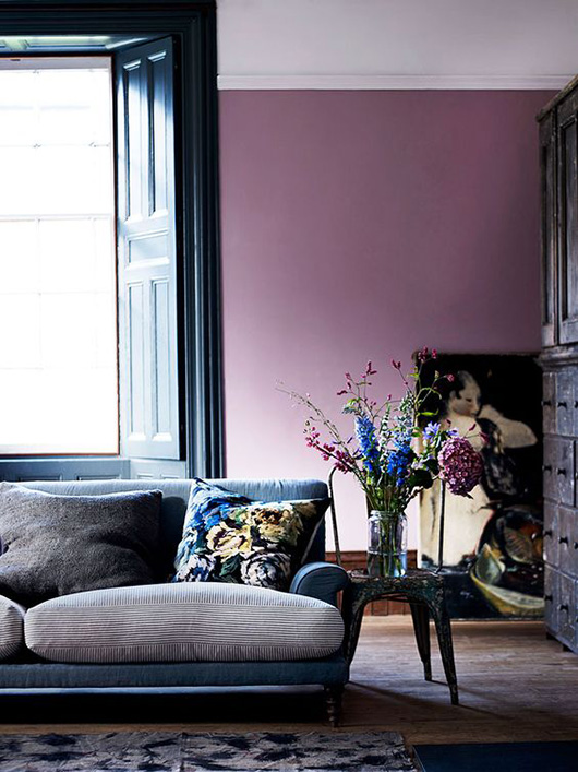 light plum living room walls and blue sofa / sfgirlbybay