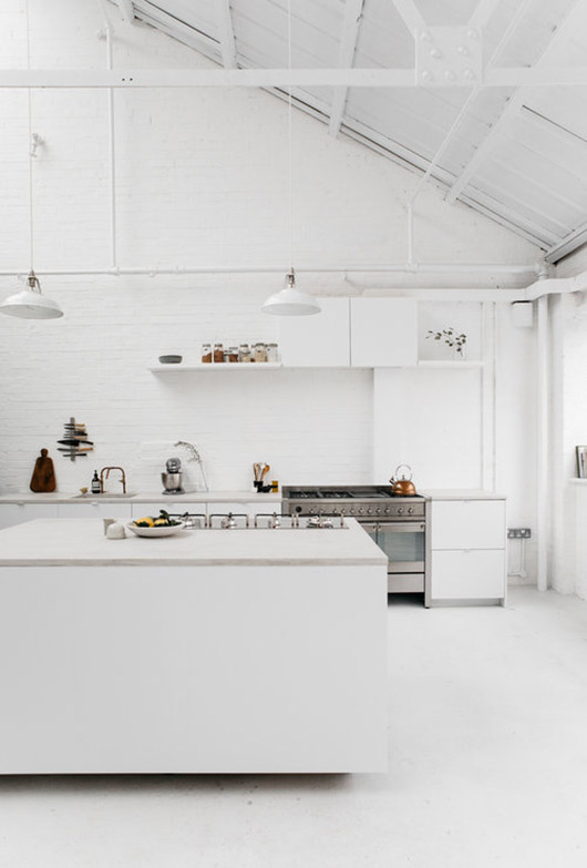 white walls and cabinets and lighting at rye london. / sfgirlbybay