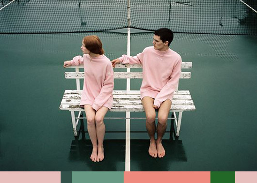 color palette: green + pink.