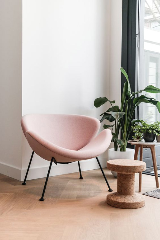modern pink chair with green potted plants. / sfgirlbybay