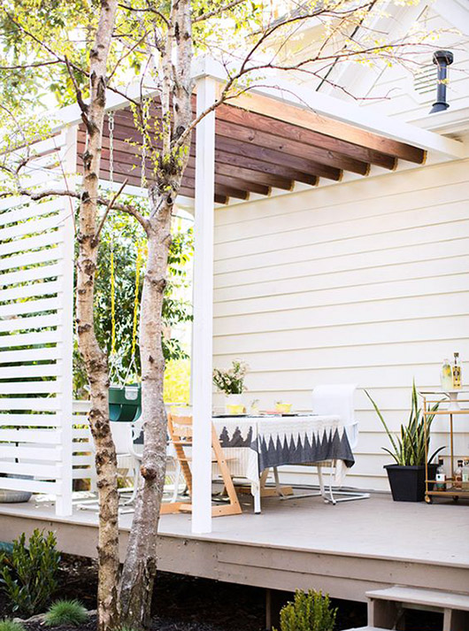 covered wood pergola over outdoor table. / sfgirlbybay